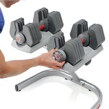 Universal PowerPak Adjustable Dumbbells with Stand - 4-45 lbs